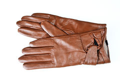 Womens brown leather gloves isolated on white. Background Royalty Free Stock Image