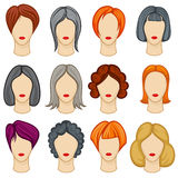 Womens cartoon hair vector hairstyles collection Stock Photography