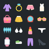 Womens Clothes and Accessories Flat Icons Royalty Free Stock Image