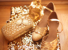 Womens clothes and accessories. Golden. Fashion Shoes. Luxury je Royalty Free Stock Photography