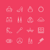 Womens clothes vector icons set. Cloth, girls and Royalty Free Stock Photography