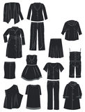 Womens clothing for complete. A set of silhouettes of womens clothing for complete Stock Images