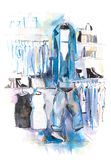 Womens clothing on rack, accessories Fashion outfit. Shopping. stock illustration