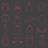 Womens clothing simple outline icons set Royalty Free Stock Photos