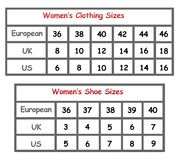 Womens clothing size chart Royalty Free Stock Photos