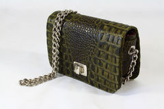 Womens crocodile skin clutch day handbag Royalty Free Stock Images