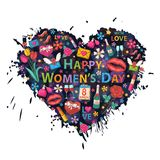Womens Day on the background of colorful blots royalty free illustration