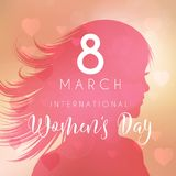Women`s day background with female silhouette Stock Image