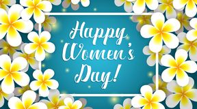 Womens day banner with plumeria flowers vector illustration