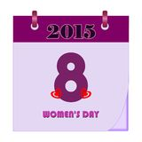 Womens Day Calendar - Illustration. On white background Royalty Free Stock Image