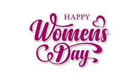 Womens day. Calligraphic text. Womens day calligraphic text on white background royalty free illustration