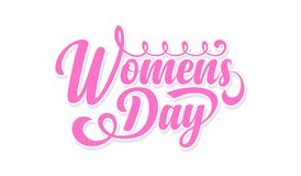 Womens day. Calligraphic text. Womens day calligraphic text on white background vector illustration