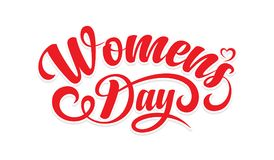 Womens day. Calligraphic text. Womens day calligraphic text on white background stock illustration