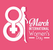Womens day card design, vector illustration. Royalty Free Stock Photos