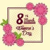 Womens day card. Icon vector illustration graphic design stock illustration