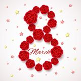 Womens day card with realistic flowers and stars. International Womens day card with realistic blossoming flowers. 3d effect, red roses and golden stars. 8 March Royalty Free Stock Photos