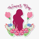 Womens day celebration with woman silhouette and flowers. Vector illustration Stock Photos