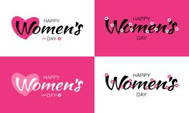 Womens Day design greeting cards and typographic lettering isolated on white and pink background with heart and flower. Womens Day set of design greeting cards royalty free illustration