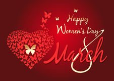 Womens day design. 8 March. Happy Womens Day. Womens day design. Happy Womens Day. 8 March. Vector greeting card. Vector background with fluttering butterflies Royalty Free Stock Photos