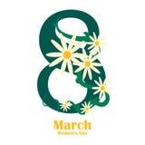 Womens day design poster. 8 March international womens day. Vector illustration. Womens day design poster. 8 March international womens day with chamomiles stock illustration