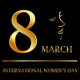 Womens day graphic in gold vector illustration