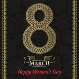 Womens Day greeting card. Beautiful crochet golden figure eight, text 8 March, Happy Womens Day, ornamental gold borders, ribbon, background with flowers and Stock Photography