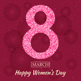 Womens Day greeting card. Beautiful glitter figure eight, text 8 March, Happy Women Day, background with bokeh, bubbles, blinks, stars at the back. Vector royalty free illustration