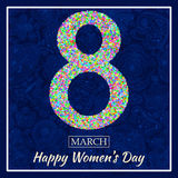 Womens Day greeting card. Beautiful glitter figure eight, text 8 March, Happy Womens Day, background with bokeh, bubbles, blinks,. Stars, hearts and flowers at vector illustration