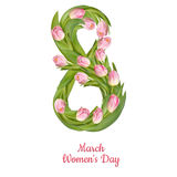 Womens Day greeting card. EPS 10. 8 March Womens Day greeting card template. EPS 10 vector file included Stock Photography