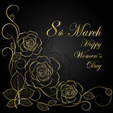 Womens day greeting card. 8 March lettering greeting card. Beautiful gold flowers on dark background with shadow Royalty Free Stock Photography