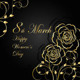 Womens day greeting card. 8 March lettering greeting card. Beautiful gold flowers on dark background with shadow Royalty Free Stock Photos