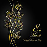 Womens day greeting card. 8 March lettering greeting card. Beautiful gold flowers on dark background with shadow vector illustration