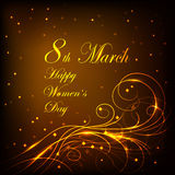 Womens day greeting card. 8 March lettering greeting card. Beautiful gold pattern on dark background with stars Royalty Free Stock Photography