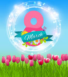 Womens Day Greeting Card 8 March Vector Illustration Stock Image