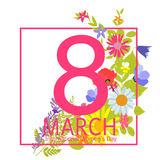 Womens Day Greeting Card 8 March Vector Illustration Stock Photos