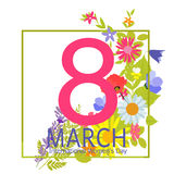 Womens Day Greeting Card 8 March Vector Illustration Royalty Free Stock Photo