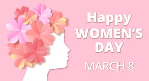 Womens day. Greeting card in origami style vector illustration
