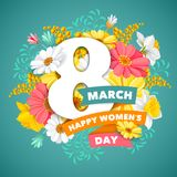 Womens Day greeting design. 8 March. Creative and cute greeting design with beautiful spring flowers for Women`s Day Party celebration. Vector illustration Vector Illustration