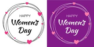 Womens Day hand drawn typographic lettering with scribble circle isolated on white background with pink hearts flower. Happy Womens Day hand drawn typographic stock illustration