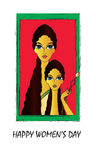 Womens day. Happy Womens Day greeting card or background with illustration of mother and daughter on red background Royalty Free Stock Images
