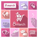 Womens day icons set. Vector White flat icon set with shadow.Womens day.Eighth march Stock Photography