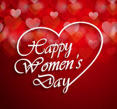 Womens Day logo on red background with bokeh hearts Stock Images