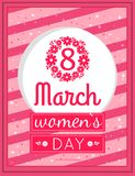 Womens Day March Eight Greeting Card Design Vector. Womens day March 8 greeting card design, framing made of flowers and pink text vector illustration vector illustration