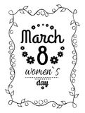 Womens Day March Eight Greeting Card Design Vector. Womens day March 8 greeting card design, framing made of leaves and black text vector illustration stock illustration