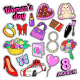 Womens Day 8 March Elements Set with Flowers and Cosmetics for Stickers, Badges, Patches Royalty Free Stock Photo