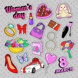 Womens Day 8 March Elements Set with Flowers and Cosmetics for Stickers, Badges, Patches Stock Photography