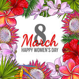 Womens day, 8 March greeting card design with tropical flowers. Happy womens day, 8 March greeting card, poster, banner design with exotic flowers, sketch vector royalty free illustration