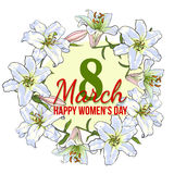 Womens day, 8 March greeting card design with white flowers. Happy womens day, 8 March greeting card, poster, banner design with wreath of white lily flowers stock illustration