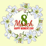 Womens day, 8 March greeting card design with white flowers. Happy womens day, 8 March greeting card, poster, banner design with wreath of white lily flowers royalty free illustration