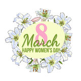 Womens day, 8 March greeting card design with white flowers Royalty Free Stock Images